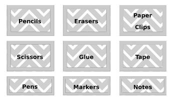 Grey Chevron Labels **Editable**
