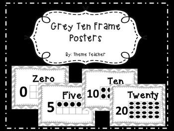 Gray Chevron Ten Frame Posters