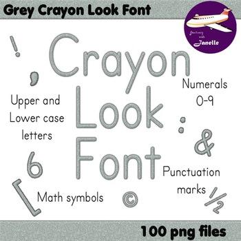Alphabet Clip Art Grey Crayon Look + Numerals, Punctuation
