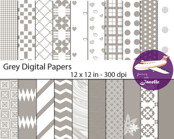 Grey Digital Papers for Backgrounds, Scrapbooking and Clas