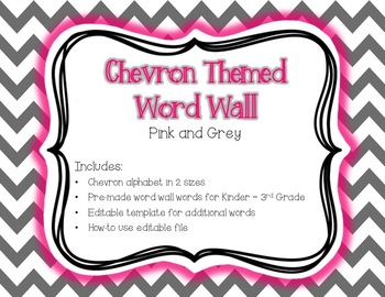 Grey & Pink Chevron Word Wall {Editable Card Template Included}