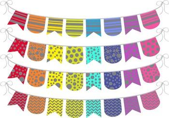 Grey Rainbow Banner - Digital Clip Art (135)