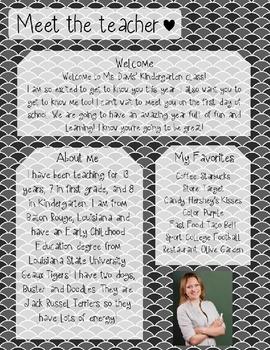 Grey Scales Meet The Teacher Template **Editable**