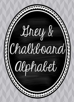 Grey and Chalkboard Cursive Alphabet