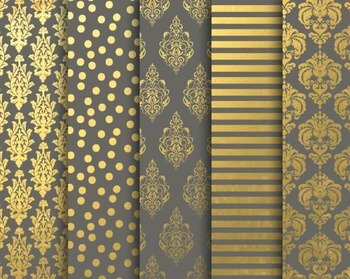 Grey and Gold Papers Set #161