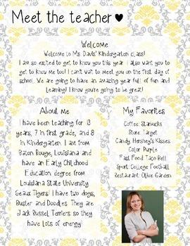 Grey and Yellow Damask Meet The Teacher Template **Editable**