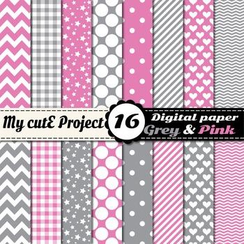 "Grey and pink DIGITAL PAPER - Scrapbooking- A4 & 12x12"" -"
