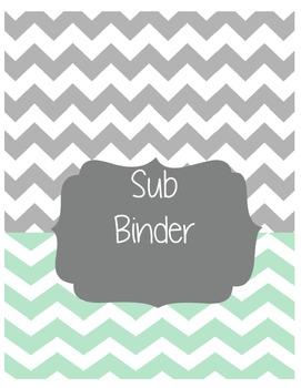 Grey/Teal Chevron Sub Binder-Editable