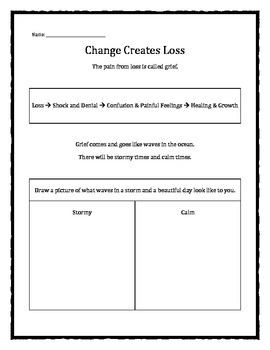 Grief and Loss: Change Creates Loss worksheet