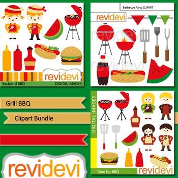 Grill BBQ digital clip art bundle (3 packs)