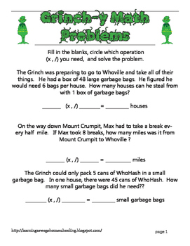 Grinch-y Math Problems - Multiplication and Division Word
