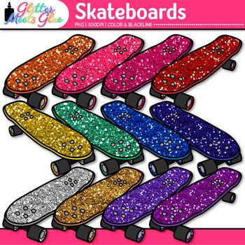 Rainbow Skateboard Clip Art {Sports Equipment for Physical