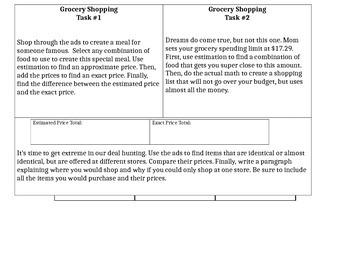 Grocery Shopping Decimal Performance Task