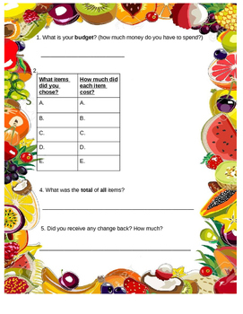 Grocery Shopping Life Skills Special Education
