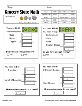 Grocery Store Money Math