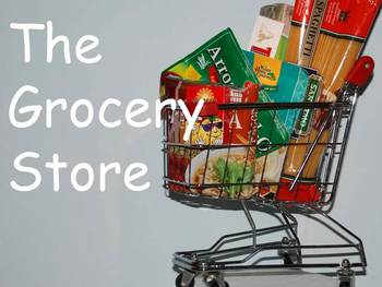 """Grocery Stores Nonfiction PowerPoint """"Book"""" for First or S"""