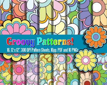 Groovy! 70's-Inspired Pattern Sheets and Stickers - 300, 1