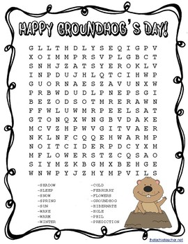 Groundhog's Day Word Search