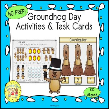 Groundhog Day Count and Clip Holiday Task Cards