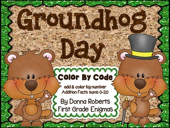 Groundhog Day Color by Code Addition sums 0-20