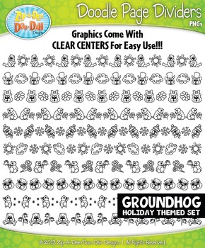 Groundhog Day Doodle Page Divider Clipart Set — Includes 1