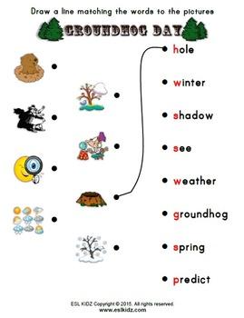 Groundhog Day Matching Worksheet