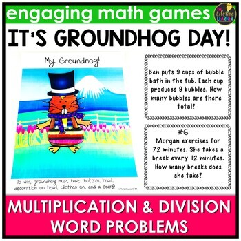 Groundhog Day Multiplication and Division Word Problems Game
