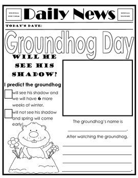 Groundhog Day Newspaper Writing