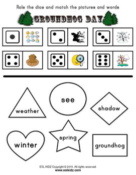 Groundhog Day Reading / Vocab Identification with Dice Activities