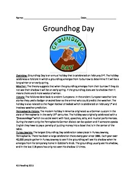Groundhog Day - Review Article History Questions Activitie