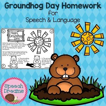 Groundhog Day Speech Therapy Homework FREE {Articulation o