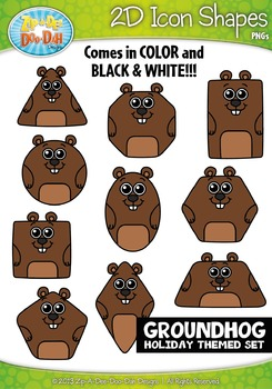 Groundhog Day Themed 2D Icon Shapes Clipart Set — Includes