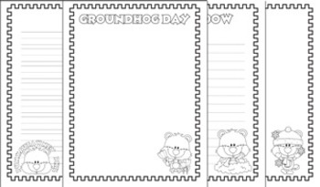Groundhog Day Writing Paper - 4 Designs - 3 Styles - Black