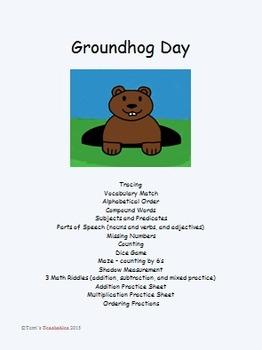 Groundhog Day - vocab., parts of speech, math riddles, mea
