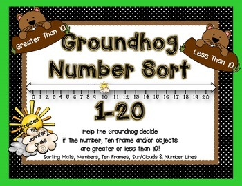 Groundhog Number Sort 1-20  **Greater Than/Less Than 10 So