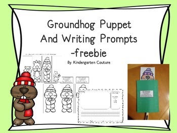 Groundhog Puppet and Writing Prompts -Freebie
