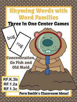 Groundhog Day Rhyming Words with Word Families Center Game