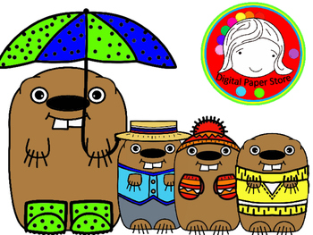 Groundhog in Spring & Winter Clothing Clipart (Personal &