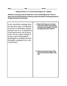 """Group Activity on Semicolons using MLK Jr.'s """"Letter From"""