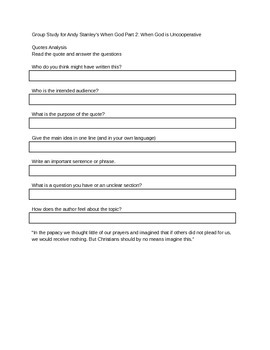 Group Bible Study Guide/Lesson for Andy Stanley's When God