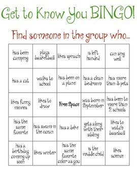 Group Bingo Ice Breaker