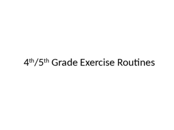 Group Exercise Example Routine Cards