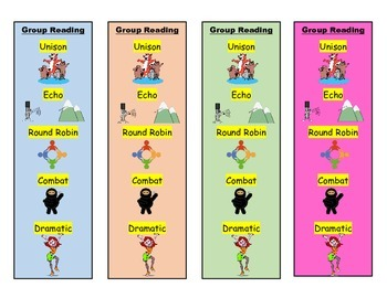 Group Fluency Reading Bookmarks in Color