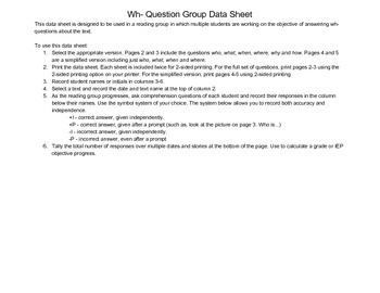 Group Reading Data Sheet for wh- Comprehension Questions