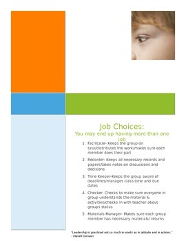 Group Roles and Responsibilities check list