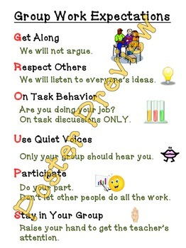 """Group Work Expectations (16""""x20"""") Printable Poster"""