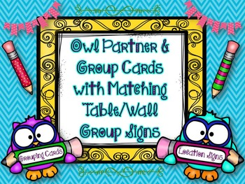 Group Work: Partner & Group Cards w/Matching Table or Wall