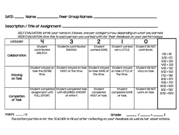 Group Work Rubric: Participation, Staying on Task, Complet