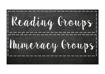 Group headings (chalkboard themed)
