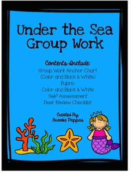 Group work Rubric and Anchor Chart Ocean theme
